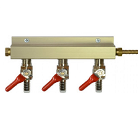 "3 Way Manifold with 1/4"" MFL Valves, 1/4"" Inlet"